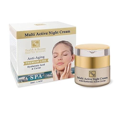 H&B Dead Sea Premium Line Multi Active Night Cream With Hyaluronic Acid & Caviar 50ml/1.76fl.oz